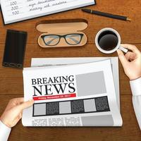 jornal de negócios realista vetor