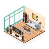 composição isométrica interior com mobília de quarto vetor
