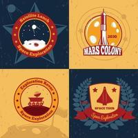Emblemas de exploração espacial cor 2x2 vetor