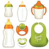 conjunto realista de mamadeira para leite