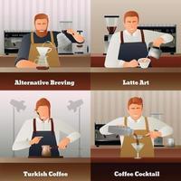 barista café equipamento gradiente plano 2x2 vetor