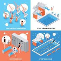 conceito de design de piscina isométrica vetor