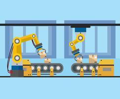 Vetor de robôs de fábrica