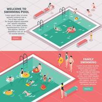 banners isométricos de piscina vetor