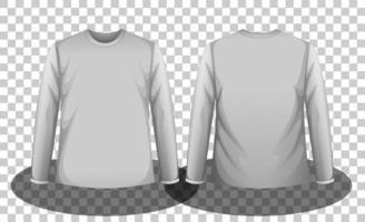 frente e costas de camiseta cinza de mangas compridas vetor