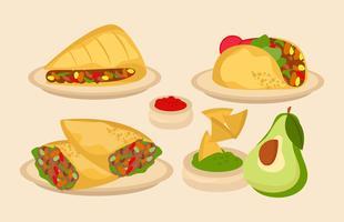 Vector comida tradicional mexicana
