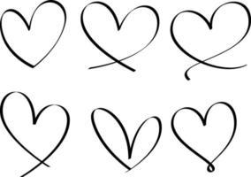conjunto de coração desenhado à mão isolado vetor