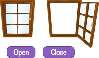 palavras opostas com abrir e fechar vetor