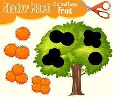 encontrar a sombra correta, planilha de correspondência de sombra para o aluno do jardim de infância vetor