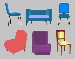 ilustração de conjunto de cadeiras coloridas vetor