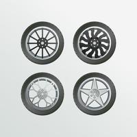 conjunto de objetos vetoriais coleção de rodas de carro de aro vetor