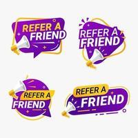 Indique um amigo banner etiqueta distintivo conjunto ilustração vetorial vetor