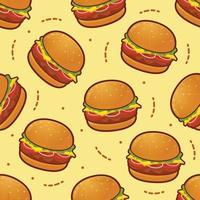 ilustração vetorial de fundo padrão sem emenda hambúrguer vetor