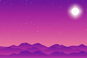 lua plana e estrelas de fundo vector