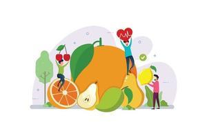 frutas orgânicas para um estilo de vida saudável com conceito de design de pessoas minúsculas
