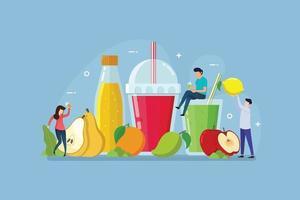frutas orgânicas para um estilo de vida saudável com conceito de design de pessoas minúsculas vetor