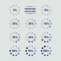 coleção de elementos de indicadores de porcentagem vetor