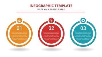 modelo de infográfico de negócios de linha do tempo com 3 etapas vetor