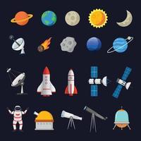 conjunto de ilustração vetorial de coleção de objetos espaciais isolada em fundo escuro vetor
