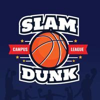 Cartaz dos crachás do afundanço do basquetebol vetor