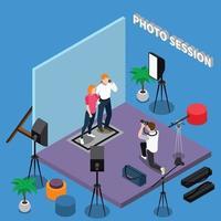 agência de modelos fotográficos composição isométrica vetor