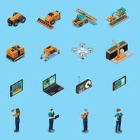 agricultura robô ícones isométricos de tecnologia moderna vetor