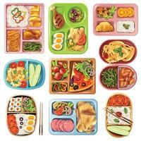 conjunto de almoço embalado vetor