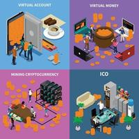 Ico conceito blockchain isométrico 2x2 vetor