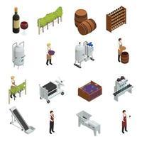produção de vinho isométrica vetor