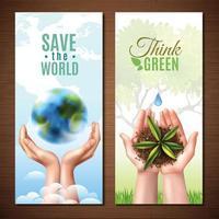 banners de ecologia de mãos realistas