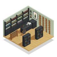composição isométrica da produção de vinho vetor