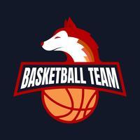 Fox Basketball Team Badge Mascote Design Logo Concept vetor