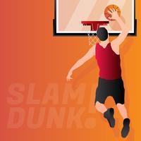 Jogador de basquete salta para ilustração de dunk vetor