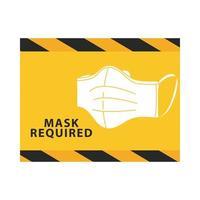 máscara necessária etiqueta amarela vetor