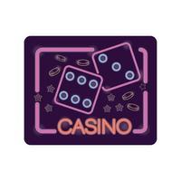 etiqueta de luz de néon de casino de dados