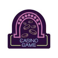 Etiqueta de luz de néon de jogo de casino em ferradura e moedas vetor