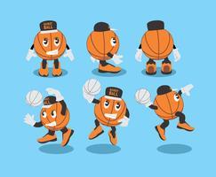Vetor de mascote de basquete bonito