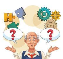 velho e paciente com doença de Alzheimer com engrenagens, peças de quebra-cabeças e pontos de interrogação