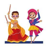mulher dançando diwali e homem com design de vetor de roupas tradicionais