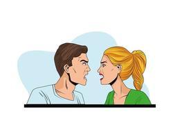 jovem casal zangado perfis personagens de estilo pop art vetor