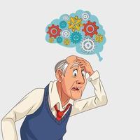 velho e paciente com doença de Alzheimer com engrenagens no cérebro