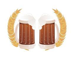 canecas de cerveja com espigas de cevada vetor