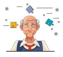 velho e paciente com doença de Alzheimer com peças de quebra-cabeça