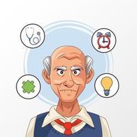 velho e paciente com doença de Alzheimer com ícones de saúde