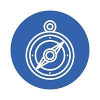 ícone de estilo de bloco de guia de bússola vetor