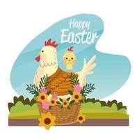cartão sazonal de feliz páscoa com galinha e pintinho