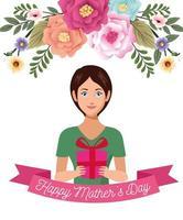 linda mãe com caixa de presente e flores cartão de dia das mães vetor