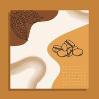 grãos de café com folhas de desenho vetorial de quadro de papel vetor
