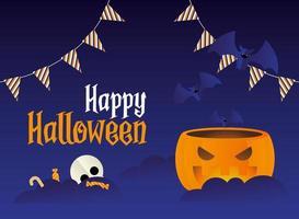 desenho de abóbora de halloween com desenho vetorial de morcegos e doces