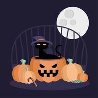 gato de halloween em desenho vetorial de abóbora